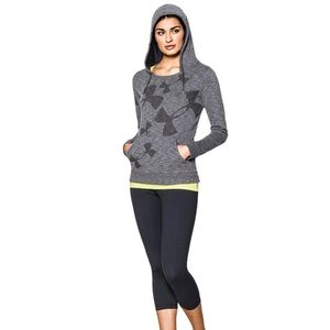 Under Armour hoodie,small,gray with logo all over